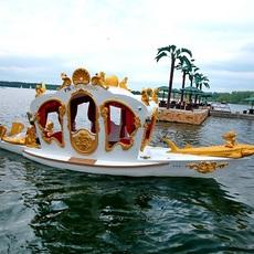 свадебная карета на воде, организация свадьбы на природе